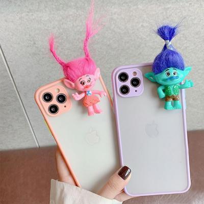 아이폰 x xs max xr 트롤 인형 머리땋기/묶기 데코 캐릭터 투명 젤리 휴대폰 케이스