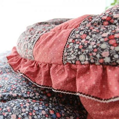 웰빙침구 잔꽃 광목 순면 퀸이불베개세트 핑크