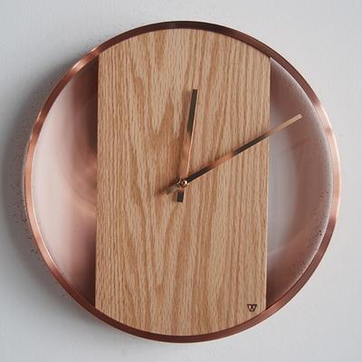 비비드우드 골드 로즈골드링 포인트 무소음 원목벽시계