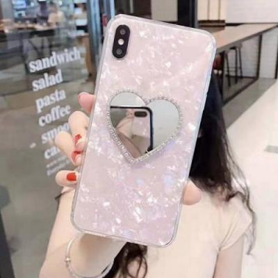 iPhone LOVE 스톤 하트 큐빅 거울 케이스