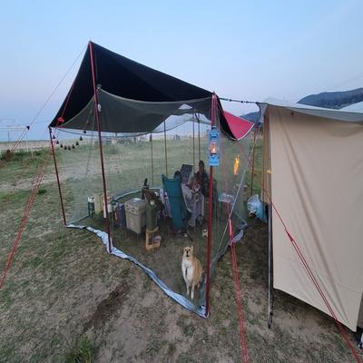 솔표 카키색 차량용 대형 모기장 야외용 캠핑용