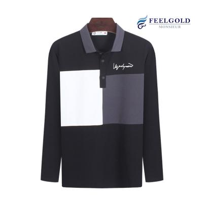 [필골드]칠리 카라배색 남성 스판 긴팔티셔츠 SL3020
