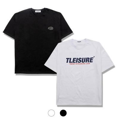 자체제작 1+1 텐타덤블 시그니처 로고 레터링 패치 반팔 티셔츠 남여공용 블랙 화이트