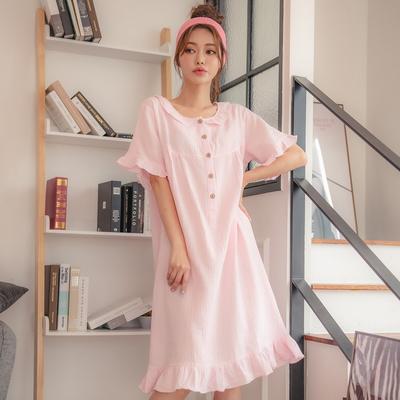 테라우드 홈웨어 거즈 순면 반팔 원피스 잠옷 (4컬러)