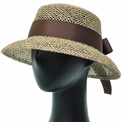 [플릭앤플록]IJP03.네트 밀짚 리본 여성 여름 비치 모자