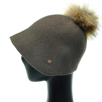JAU06.라쿤 털방울 니트 여성 벙거지 모자 겨울 보넷