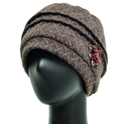 JCS10.볼륨 격자 중년 여성 비니 엄마 겨울 항암 모자