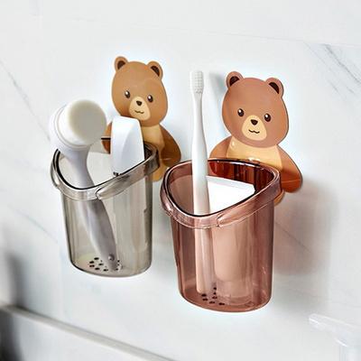 곰 칫솔꽂이 치약통 접착걸이 홀더 욕실수납함
