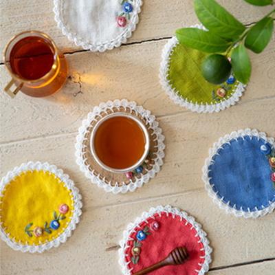 플라워자수 원형 컵받침 티코스터(6color)