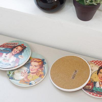 레트로 원형 컵받침 4p set