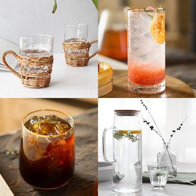 심플 유리컵 유리잔 예쁜 홈 카페 라탄 소품