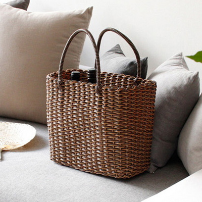라탄 와이어 빨대 가방 목욕가방 비치백(2color)