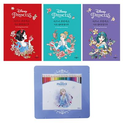 디즈니 컬러링 엽서북과 24색 색연필 세트