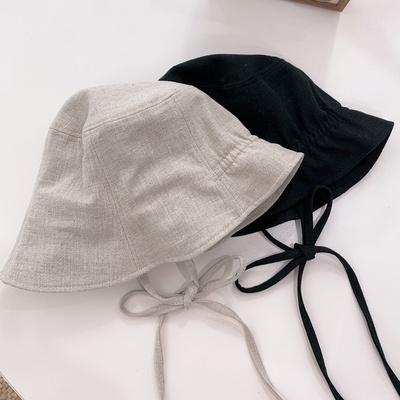 린넨 보넷 모자 버킷햇 턱끈 여성 벙거지 2color