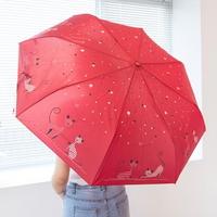 줄무늬 고양이 3단 자동우산