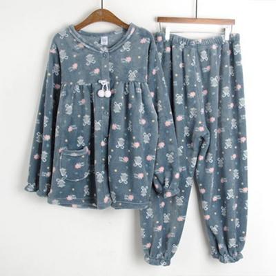 여성용 포근 풀오픈 수면잠옷 세트(FREE,XL)
