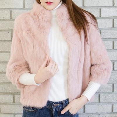 리얼토끼털 하이넥 자켓(3color)