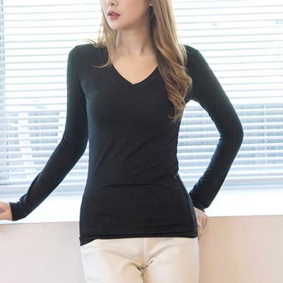 브이넥 스판 긴팔티셔츠(4color)