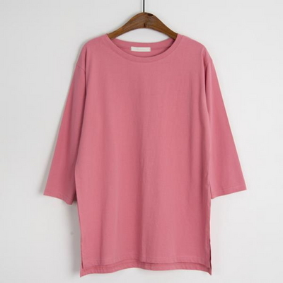 코튼 루즈핏 7부 티셔츠