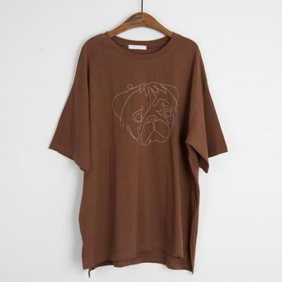 퍼그 자수 코튼 5부 티셔츠