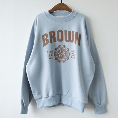 P8799 브라운 배색 로고 맨투맨티