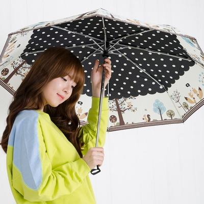 A0953 부엉이 블랙 3단자동우산