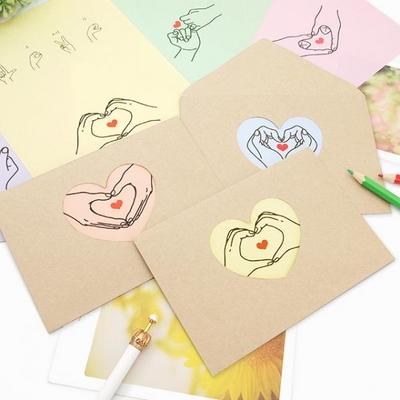 손하트 랜덤 편지지(편지지8장+봉투4장)
