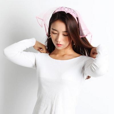 면사포머리띠 (핑크)