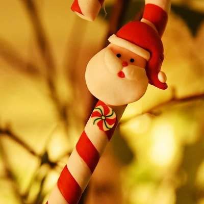 크리스마스 지팡이 볼펜 (바람개비) 레드