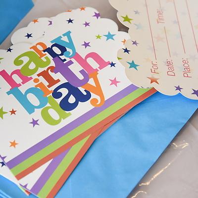 생일파티 카드초대장-12세트 (화이트스타)