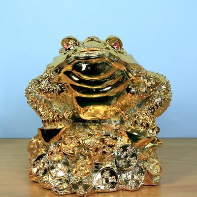 부와재물 금도금 두꺼비대 장식인형 개업 결혼 집들이