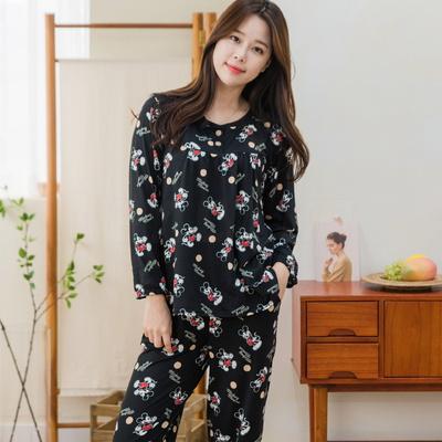 디즈니 여성 미키 피치기모 잠옷 상하세트 (블랙)