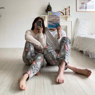 마블 밍크 수면바지 (남성 로고 그레이)