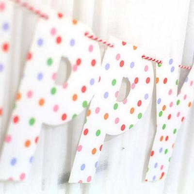 생일축하 레터 가랜드 (화이트 도트)