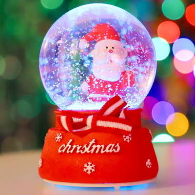 8cm 리본 선물 산타 워터볼 (A.LED 사운드)