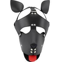 인조가죽 늑대 개 가면 (블랙)
