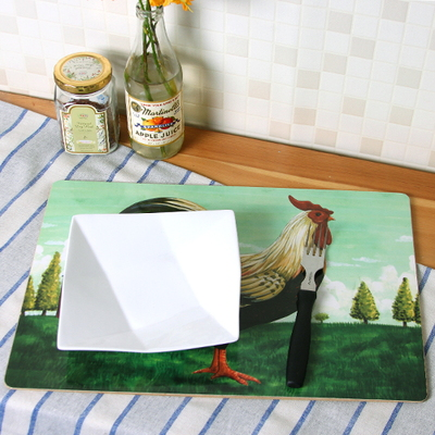 하우스케어 빈티지 라벨 코르크 테이블매트 (대) 1P -Chicken