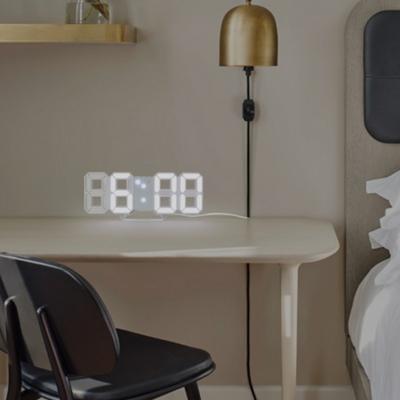 3D 모던 mini LED 무소음 탁상시계 겸 벽시계