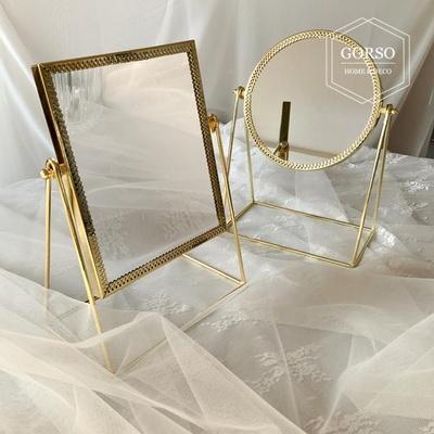 고르소 북유럽 골드 프레임 화장 스탠드 탁상 거울