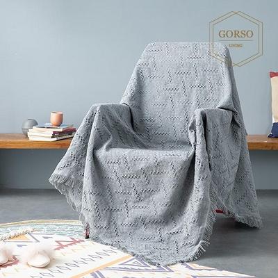 고르소 거실 소파 캠핑 피크닉 담요 대형 침대 니트 커버 코튼 블랭킷 베이지 180x230