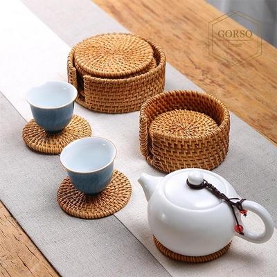 고르소 라탄 티 코스터 컵 찻잔 받침 홈카페 10CM SET (6개입 + 보관SET)