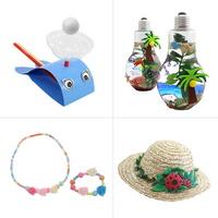 여름 홈스쿨 만들기 C_ 고래피리, 전구 어항, 장미 악세사리, 밀짚 모자