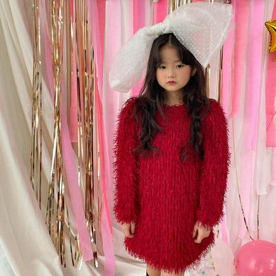 퍼키 메탈 테슬 여아 아동 연말 파티룩 원피스 드레스