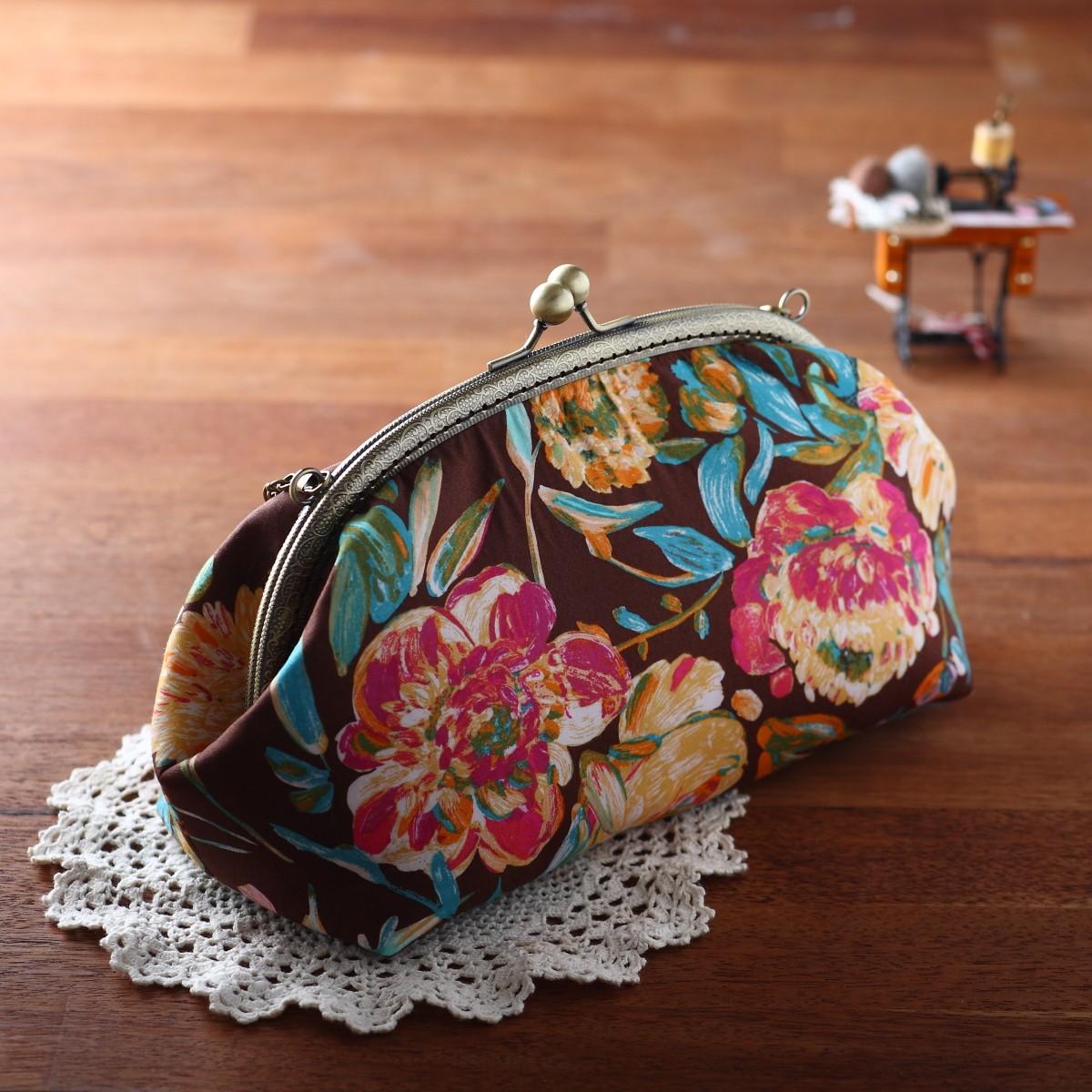 퀼트 패키지 퀼트25cm라운드프레임가방만들기 플로라 (체인별도구매) - 나미꼬의퀼트카페, 40,000원, 펠트공예, 수납/주머니 패키지
