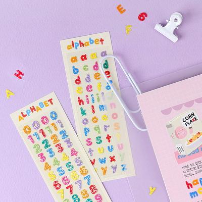 (홀로그램) 몽글몽글 알파벳 숫자 스티커