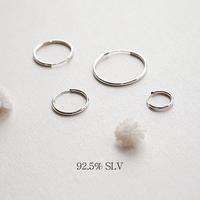 [실버] 심플 라운드 링 귀걸이(12mm)