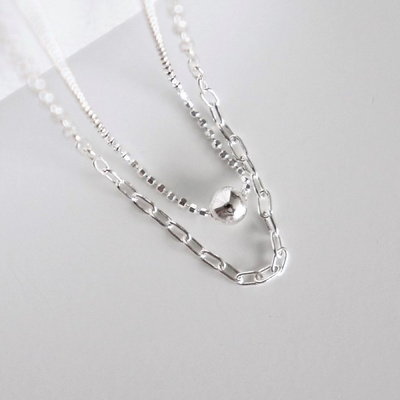 [Silver925] Other chain layered necklace
