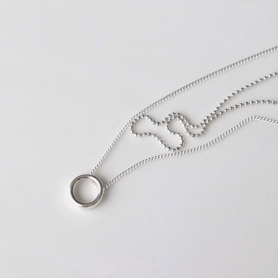 [Silver925] Circle two line necklace