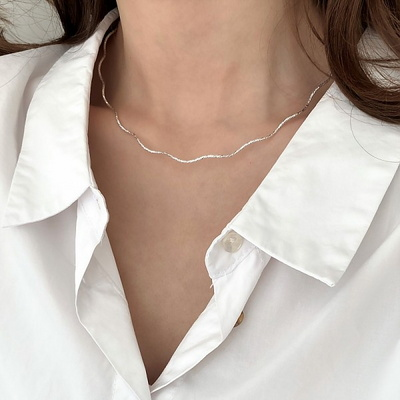 [Silver925] Cutting wave necklace
