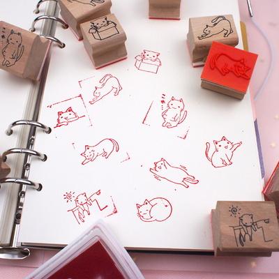 미니 스탬프 잉크패드 세트 고양이 주먹밥